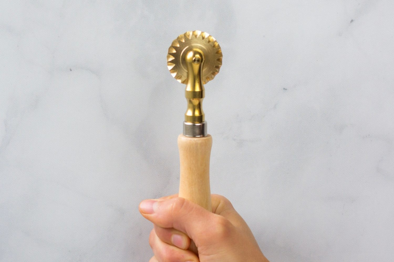 Fluted Pasta Wheel - QB Cucina in Hand