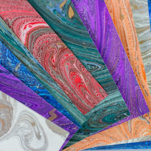 Hand-marbled stationery detail
