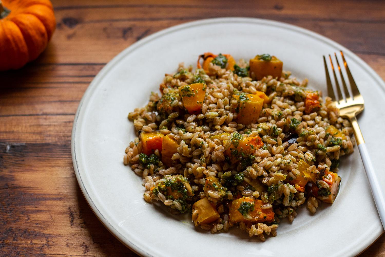 Farro Butternut Squash Sage Pesto Salad - q.b. cucina