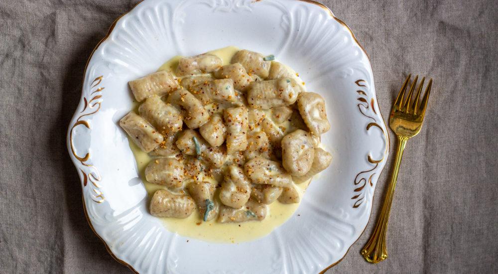Hazelnut Gnocchi with Gorgonzola Sauce