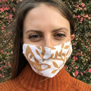 Women's Italian cotton mask with nature design