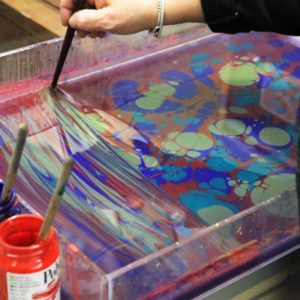 Marbled paper being made