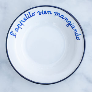 Enamel low bowl for soup and pasta