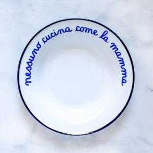 Italian Phrase Enamelware Bowls - Alt Means Old - Nessuno cucina come la mamma