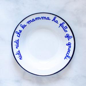 Italian Phrase Enamelware Bowls - Alt Means Old - Ridi ridi che la mamma ha fatto gli gnocchi