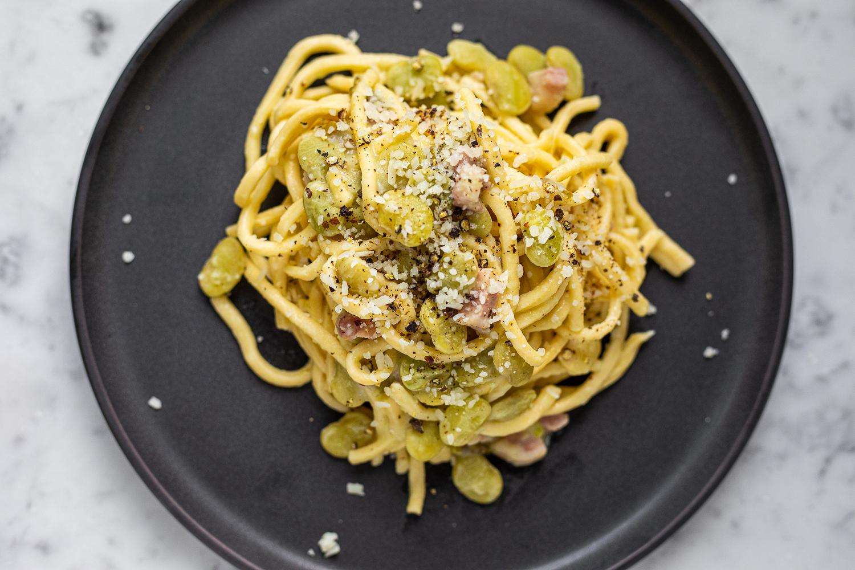 Spaghetti alla Chitarra with Lima Beans Pancetta Pecorino
