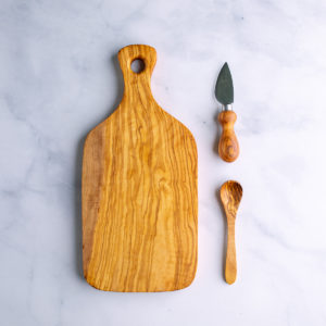 Olive Wood Cheese Board Set - Cheese board, knife, and small spoon
