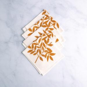 Rust-dyed Italian napkins - frassino print - qbcucina.com